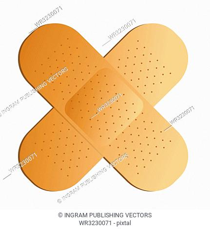 Two illustrated band aids cross with a drop shadow
