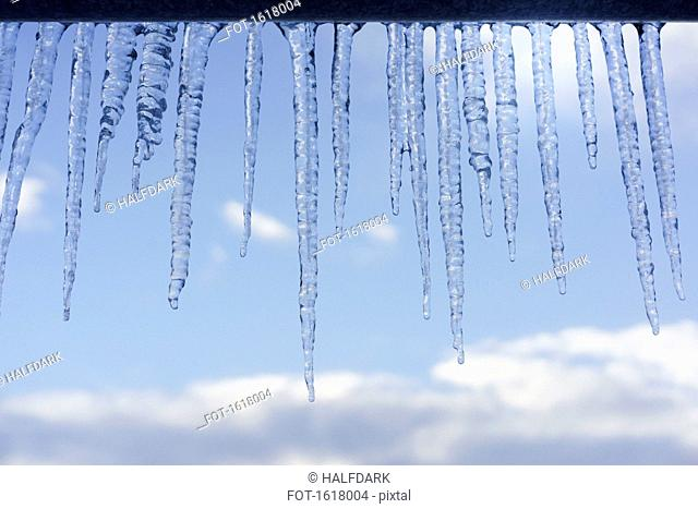 Close-up of icicles on roof edge
