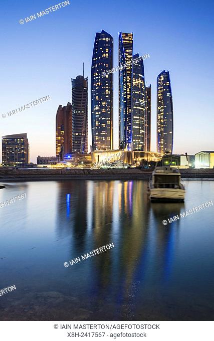 Night skyline view of Etihad Towers in Abu Dhabi in United Arab Emirates