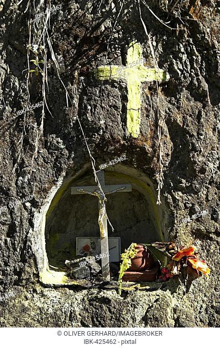 Saints shrine at the hiking trail, caldera of Cirque de Cilaos, La Reunion Island, France, Africa