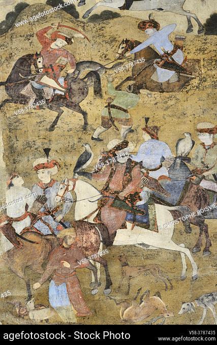 Iran, Isfahan, World Heritage Site, The baazar, Qeysarie gate, Hunting scene
