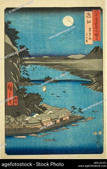 "Omi Province: Lake Biwa and Ishiyama Temple (Omi, Biwako Ishiyamadera), from the series """"Famous Places in the Sixty-odd Provinces (Rokujuyoshu meisho zue)"""" -..."