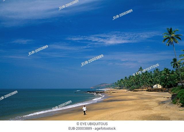 View along near deserted beach