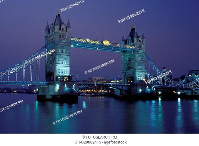 London, England, Great Britain, United Kingdom, Europe, Tower Bridge crosses the River Thames in London in the evening
