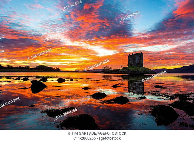 Castle Stalker, Scottish Castle, Loch Laich, Loch Linnhe, Argyll and Bute, Scotland, uk