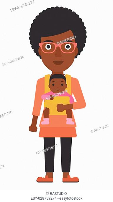 An african-american woman holding baby in sling vector flat design illustration isolated on white background