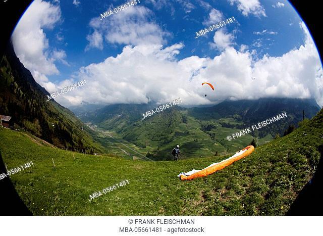 Büelen-Engelbergertal, paraglider start square, Wolfenschiessen, Zentralschweiz, region of Vierwaldstättersee, Switzerland