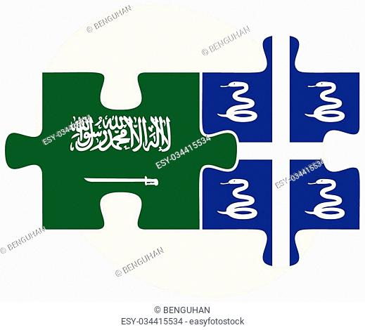 Saudi Arabia and Martinique Flags in puzzle isolated on white background