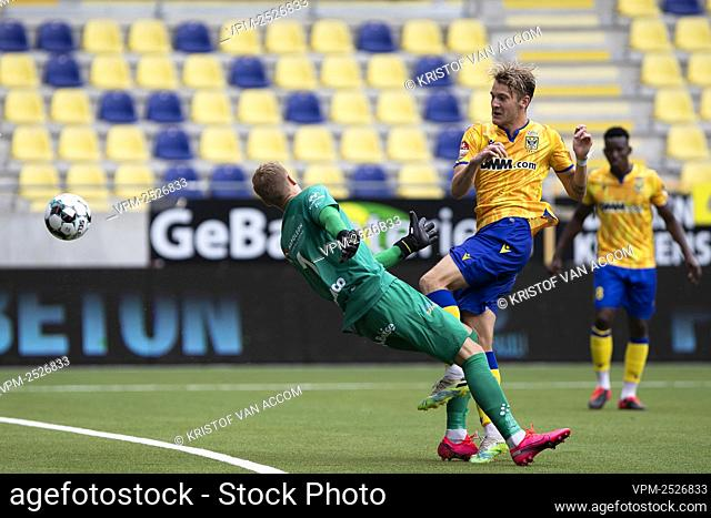 STVV's Facundo Colidio scores a goal during the Jupiler Pro League match between STVV and KAA Gent, in Sint-Truiden, Sunday 09 August 2020
