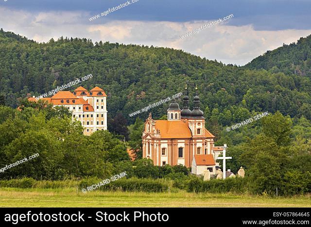 Castle and church in Valec, Western Bohemia, Czech Republic