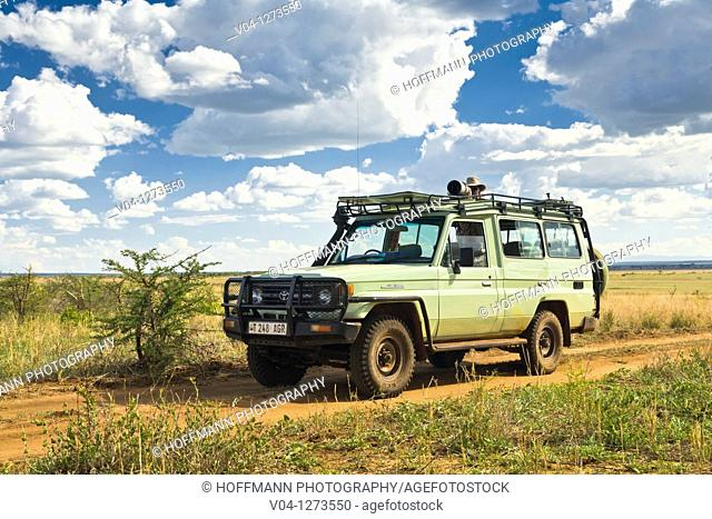 Tourist looking out of the car in the Tarangire National Park in Tanzania, Africa