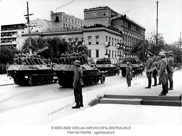 The Nazi propaganda picture shows the victory parade of the German Wehrmacht on 3 May 1941 and German field marshal Wilhelm List (right) after the conquest of...