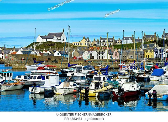 Fishing village, Findochty Harbour, Moray Firth, Scotland, United Kingdom