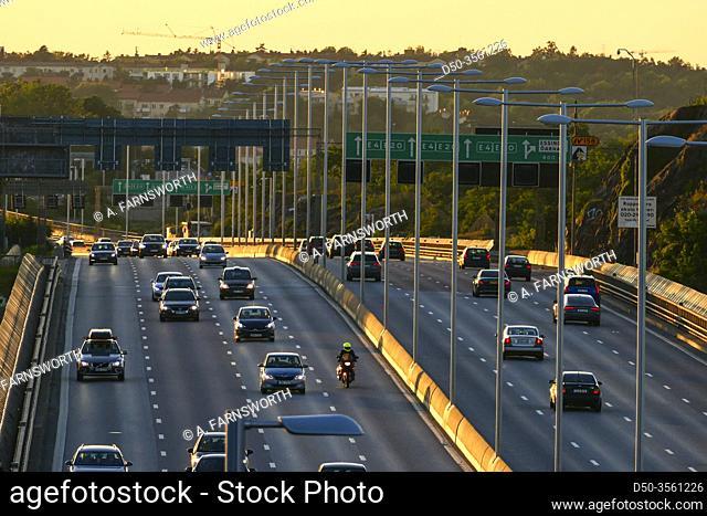 Stockholm, Sweden The E4 highway or Essingeleden at sunset