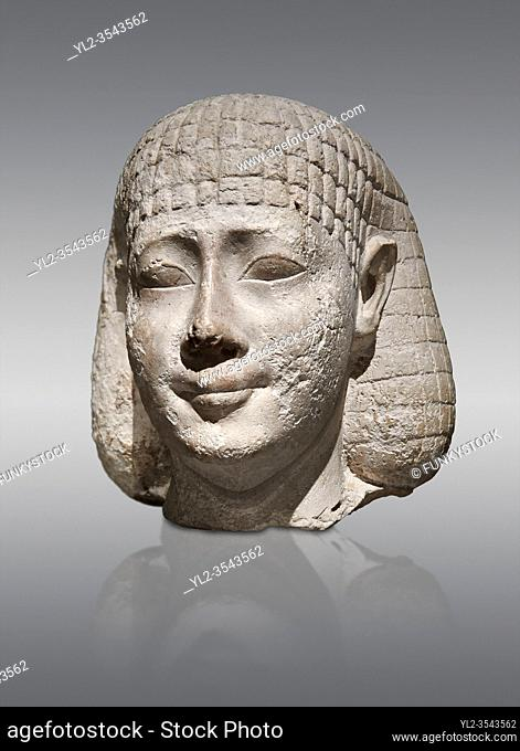 Ancient Egyptian statue bust of a male, graywacke, Late Period, (722-322 BC), . Egyptian Museum, Turin. Grey background. Old Fund. Cat 3078