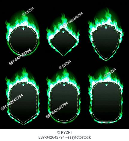 Set of six frames of different shapes with text space surrounded with realistic green flame isolated on black background. Burning fire light effect