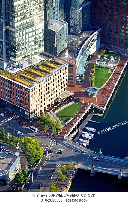 """Aerial Fort Point Channel, Intercontinental Hotel, Boston, MA showing """"""""Green Roof"""""""" center, USA"""