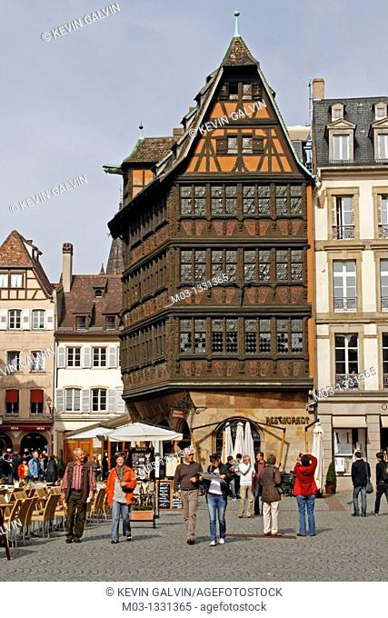 Street scene with tourists, Strasbourg, Alsace, France