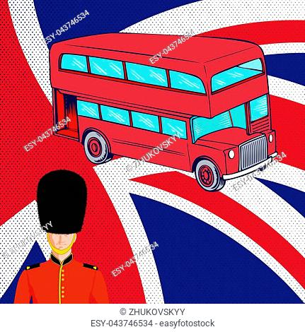 Double-decker red bus, Royal British guard on background of the flag United Kingdom