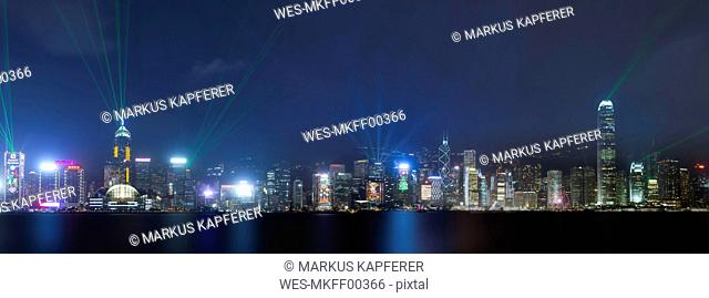 China, Hong Kong, Panoramic view of Central at night