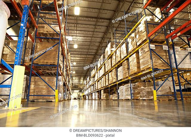 Shelves of merchandise in warehouse