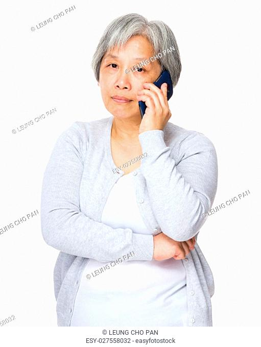 Old woman chat on mobile phone