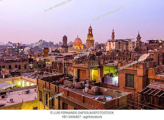 Islamic Cairo overview at dusk, Egypt