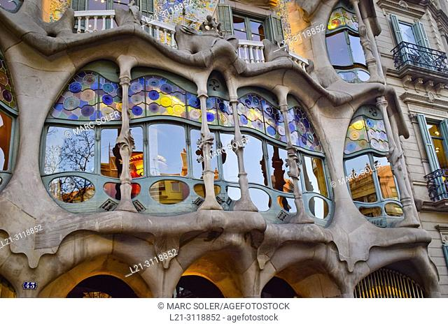Casa Battlo, by Gaudi. Barcelona, Catalonia, Spain