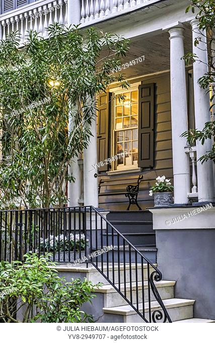 Porch view of a historic house in Charleston, South Carolina