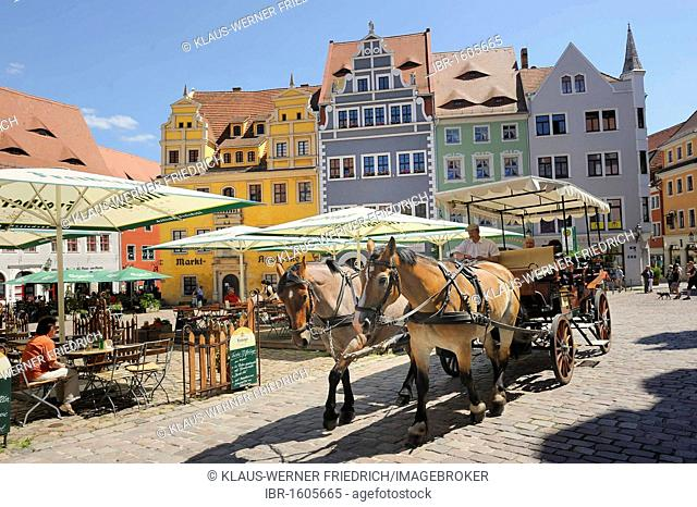 Market square with a horse-drawn carriage in the historic district of Meissen, Saxony, Germany, Europe