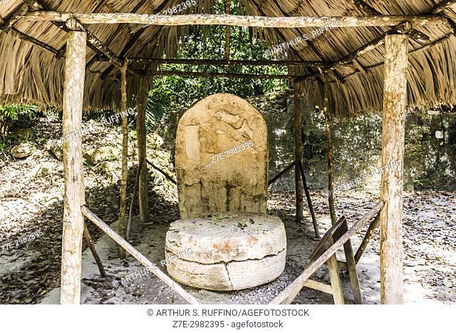 Mayan stele and altar, Tikal, Guatemala, Central America