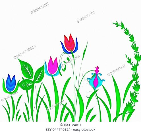 Abstract floral pattern illustration with leaves and flowers