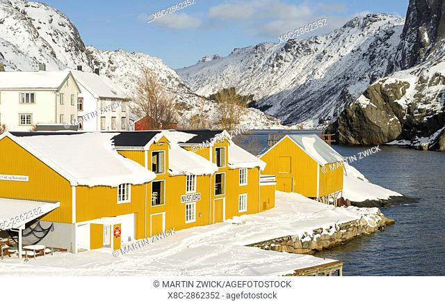 Open air museum Nussfjord on the island of Flakstadoya. The Lofoten Islands in northern Norway during winter. Europe, Scandinavia, Norway,February