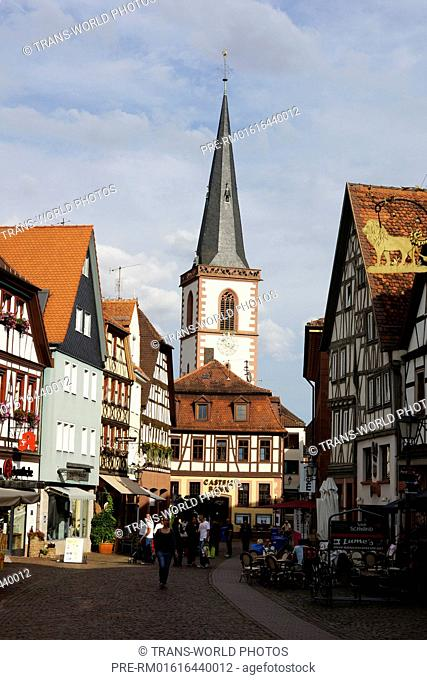 Hauptstrasse (Main Street) with towns parish church St. Michael, Lohr am Main, Main-Spessart district, Lower Franconia, Bavaria