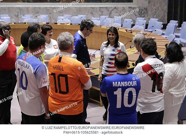 United Nations, New York, USA, June 14 2018 - Security Council members, wearing the jerseys of their national teams, gathered in the chamber today to mark the...