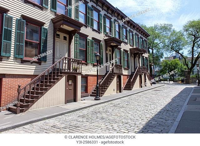Sylvan Terrace rowhouses in the Jumel Terrace Historic District in the Washington Heights neighborhood of Manhattan in New York City