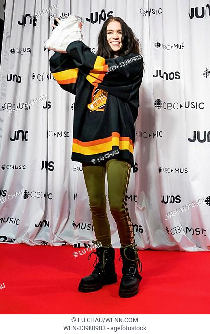 2018 JUNO Awards, held at the Rogers Arena in Vancouver, Canada. Featuring: Grimes Where: Vancouver, British Columbia, Canada When: 25 Mar 2018 Credit: Lu...