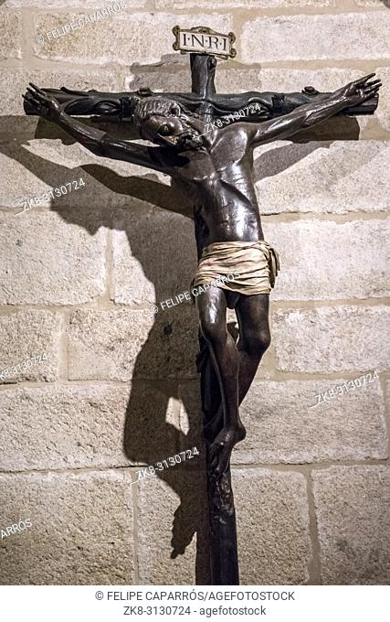 Caceres, Spain - july 13, 2018: Holy Crucifix of Santa Maria de Jesus (Black Christ) in your chapel, is an anonymous carving and is in the cathedral of Santa...