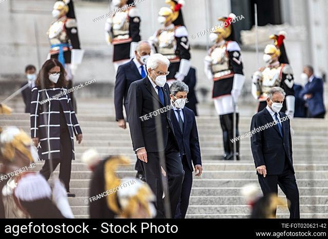 Republic President Sergio Mattarella during the ceremony at the Altar of the Fatherland (Altare della Patria) as part of celebrations marking the 75th Republic...