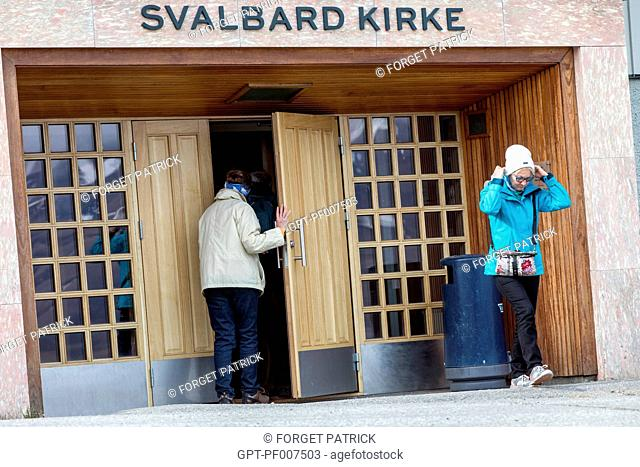 ENTRANCE TO THE CHURCH IN THE CITY OF LONGYEARBYEN, THE NORTHERNMOST CITY ON EARTH, SPITZBERG, SVALBARD, ARCTIC OCEAN, NORWAY