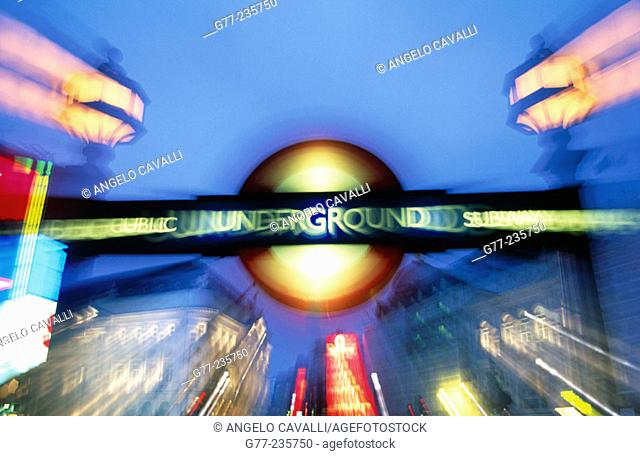 Underground sign at Piccadilly Circus. London. England