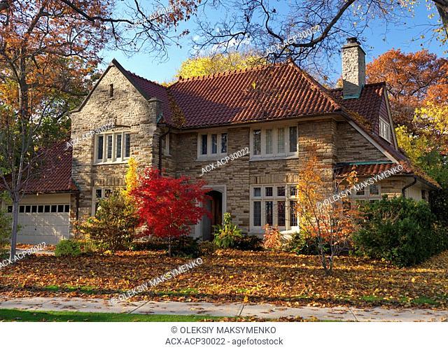 Beautiful large family house in fall. Toronto, Ontario, Canada