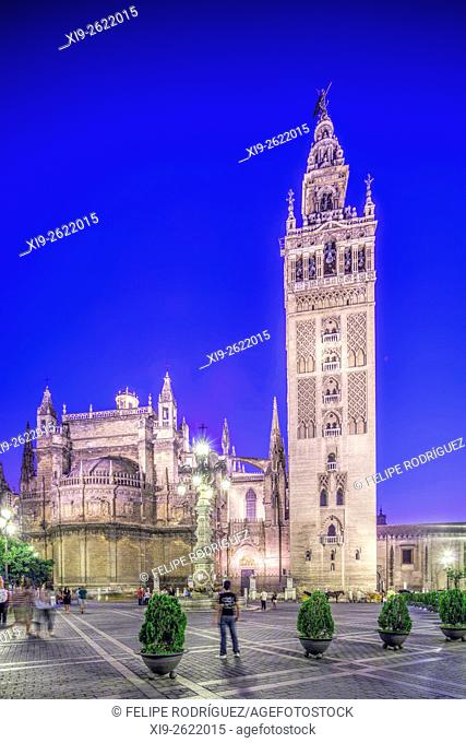 East side of the Giralda tower, Seville, Spain