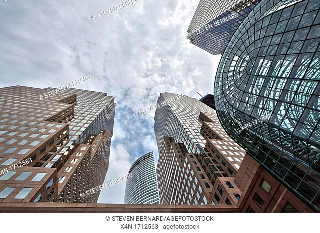 From left to right, AT&T building, Goldman Sachs and American Express Tower, Three World Financial Center in Manhattan, New York City, United States of America