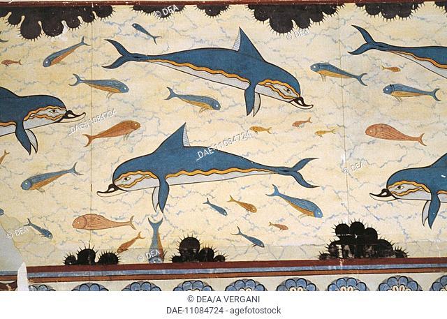 Greece - Crete - Knossos. Palace of Minos. Megaron of the Queen. Frescoes