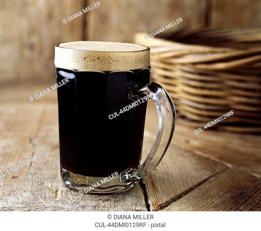 Close up of mug of beer