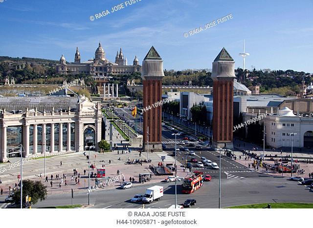 Spain, Europe, Catalunya, Barcelona, Espana Square, Montjuich, Palace, National Museum, Venetian Towers