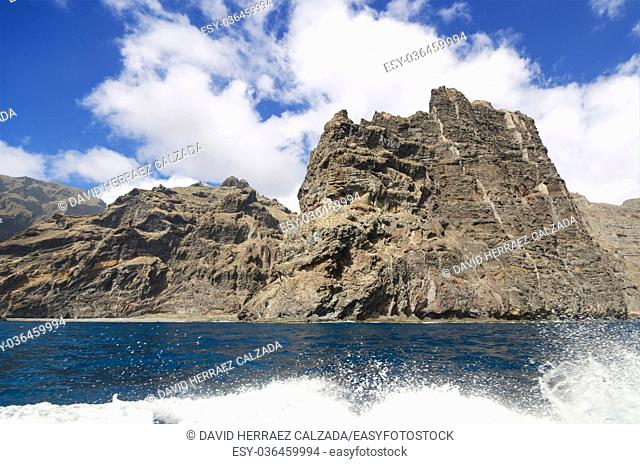 Scenic view of famous cliffs Los Gigantes, in Tenerife, Canary islands, Spain