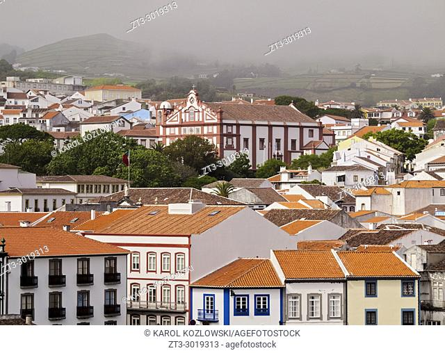 View towards the Convent of Sao Francisco, Angra do Heroismo, Terceira Island, Azores, Portugal