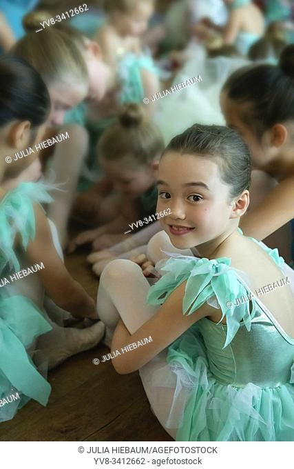 Young girls before their ballet performance